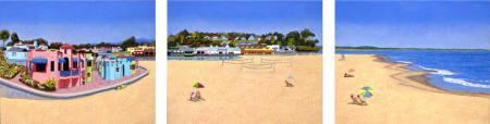 Capitola Beach Scene Triptych