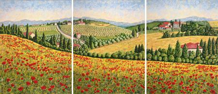 Springtime in Tuscany Triptych