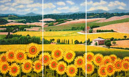 Sunflowers in Tuscany Triptych